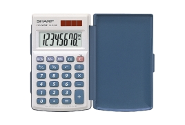 Sharp EL-243S Handheld with Hard Cover Calculator Twin Power Source 8-Digit