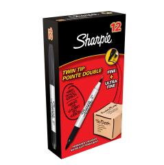 Sharpie Twin Tip Permanent Marker Alcohol-based 1.5mm and 0.4mm Line (Black) Pack of 12 Image