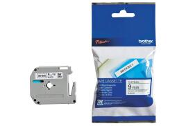 Brother P-touch M-K221BZ (9mm x 8m) Black On White Plastic Labelling Tape