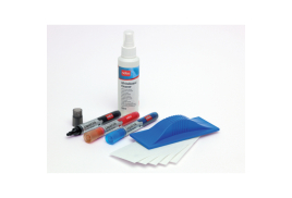 Nobo Whiteboard Starter Kit (Includes 3 Drymarkers (Black/Blue/Red), An Eraser, Eraser Refills and (125ml) Cleaning Fluid)