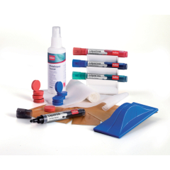 Nobo Whiteboard User Kit Eraser Refills 4 Markers Absorbent Cloths and (125ml) Spray Cleaner Image