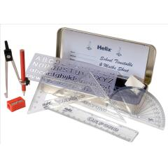 Helix Oxford Maths Set With Various Stationery Items and Storage Tin Image