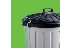 Unbranded Round Dustbin (90 Litre) with Lid and Locking Clips