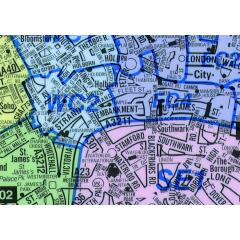 Map Marketing Postal Districts of London Map (Unframed) - Scale 1 Mile/1 inch Image