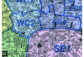 Map Marketing Postal Districts of London Map (Unframed) - Scale 1 Mile/1 inch