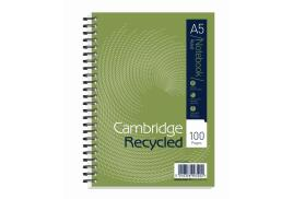Cambridge (A5) Notebook 100 Pages 100% Recycled Wirebound 2-Hole Punched Ruled Perforated Card Cover (Black)