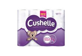 Cushelle White Toilet Roll 2 Ply 180 Sheets Per Roll (Pack of 12 Rolls)