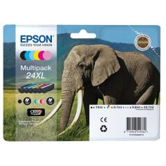 Epson Elephant 24XL (RF/AM) High Capacity 6 Colour Multipack Ink Cartridge (Black, Cyan, Magenta, Yellow, Light Cyan, Light Magenta) for Epson Expression Photo: XP-750 / XP-850 Image