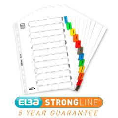 Elba (A4) Mylar Dividers Europunched Jan-Dec Coloured Tabs White  Image