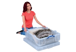 Really Useful (70L) Stackable Plastic Storage Box with Lid (Clear)