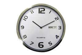 5 Star Facilities Wall Clock with Date (White with Grey Edge)