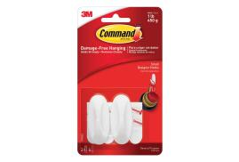 Command Oval Adhesive Designer Small Hooks White (2 Hooks/4 Strips)