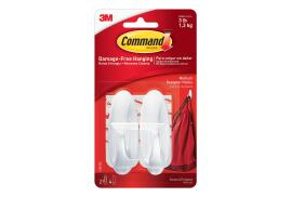 Command Oval Adhesive Designer Medium Hooks White (2 Hooks/4 Strips)