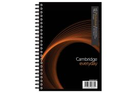 Cambridge (A5) Metallic 200 Pages 80gsm Wirebound Ruled Perforated Card Cover Notebook (Black)