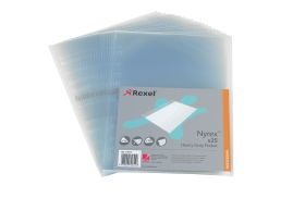 Rexel Nyrex (A4) Heavy Duty Side Opening Pockets Pack of 25 Pockets)