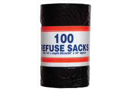 Unbranded Big Value (92 Litre) Refuse Sacks on a Roll 737 x 864 mm (Black) Roll of 100