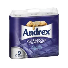 Andrex Toilet Rolls 3-Ply 160 Sheets Quilted White (1 x Pack of 9 Rolls) Ref M01386 Image