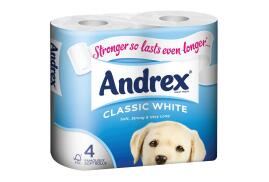 Andrex Toilet Rolls 2-Ply 240 Sheets Classic White (1 x Pack of 4 Rolls) Ref M01389