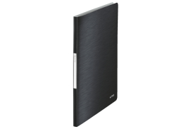 Leitz Style (A4) Soft Polypropylene Display Book (Satin Black) with 20 Clear Pockets