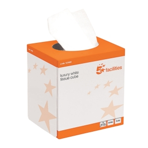 5 Star Facilities Luxury Facial Tissue Two Ply Cube Box 70 Sheets per Box White (24 Boxes)