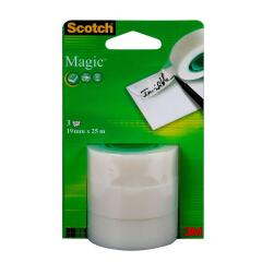 Scotch Magic (19mm x 25m) Invisible Matte Tape Refill Rolls (Clear) Pack of 3 Image