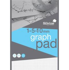Silvine (A4) Student Graph Pad 90gsm 1mm 5mm 10mm Grid (50 Sheets) Pack of 10 Image