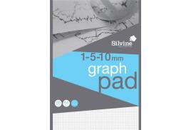 Silvine (A4) Student Graph Pad 90gsm 1mm 5mm 10mm Grid (50 Sheets) Pack of 10