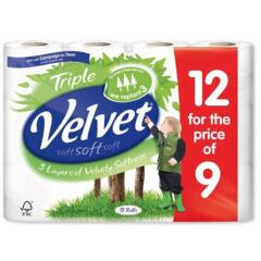 Triple Velvet Velvet Comfort Toilet Rolls 116 x 104.5mm 210 sheets 24.4mm 2-ply White (Pack of 9 Plus 3 Free) Image
