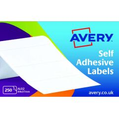 Avery AL02 Typewriter Address Labels (89 x 37mm) on a Roll (Pack of 250 Labels) Image