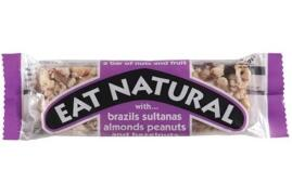 Eat Natural Energy Bar Made From Brazil Nuts Sultanas Almonds Apricots Peanuts and Hazelnuts 50g (Pack 12)