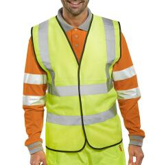 Unbranded Bseen High Visibility Waistcoat Full App 2XL (Yellow/Black Piping) Image