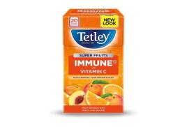 Tetley Super Fruits Tea IMMUNE Peach and Orange with Vitamin C (Pack of 20)