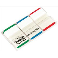 Post-It Post-it Index Tabs Ruled Strong 25mm (Green)/Blue/Red (3 x 22 Tabs) Image