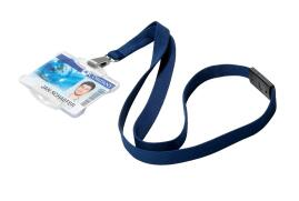 DURABLE (15mm) Textile Badge Lanyard Soft Colour (Midnight Blue) - Pack of 10