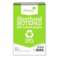 Silvine Everyday Shorthand Notepad Recycled Wirebound Ruled 160 Pages 125 x 200mm (Pack of 12) Promo Image