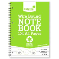 Silvine (A4) Everyday Notebook Recycled Wirebound Punched Ruled 104 Pages 70gsm (Pack of 12) Promo Image