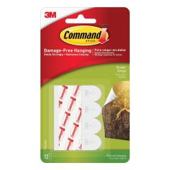 3M Command Adhesive Poster Strips Clean-removing Holding Capacity 0.45kg White (Pack of 12) Image