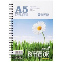 Silvine (A5) Carbon Neutral Wirebound Notebook 80g/m2 Lined Perforated Punched 4 Holes 120 Pages (Pack of 5) Image