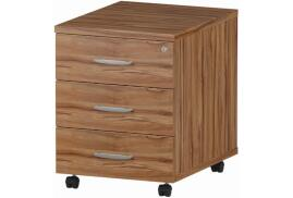 Trexus (430mm) Mobile Pedestal (Walnut) with 3 Drawers