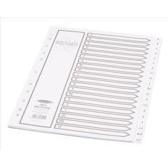 Concord Recycled Dividers 230 micron Card with Printed Tabs A-Z 20-Part A4 White Ref 48201 Image