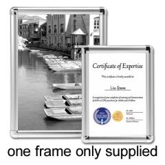 5 Star Facilities (A4) Clip Display Frame Aluminium with Fixings Front-Loading 210x13x297mm (Silver) Image