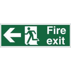 Stewart Superior SP120SAV Self-Adhesive Vinyl Sign (450x150mm) - Fire Exit (Left Arrow) Image