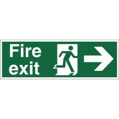 Stewart Superior SP121SAV Self-Adhesive Vinyl Sign (450x150mm) - Fire Exit (Right Arrow) Image