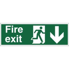 Stewart Superior Fire Exit Sign Man and Arrow Down W450xH150 Self-Adhesive Vinyl Image