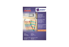 Avery ReadyIndex (A4) Dividers Card with Coloured Contents Sheet Matching Mylar Tabs