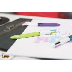 Bic 4-Colours Fashion Ballpoint Pen 1.0mm Tip 0.4mm Line (Pink/Purple/Turquoise/Lime Green) Pack of 12 Image