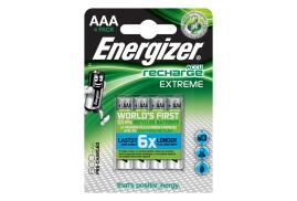 Energizer Accu Recharge Extreme (AAA) LR03 800mAh 1.2V Rechargeable Advanced NiMH Batteries (Pack 4)