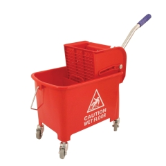 Unbranded Mobile Mop Bucket (20 Litre) Colour Coded with Handle and Castors (Red) Image