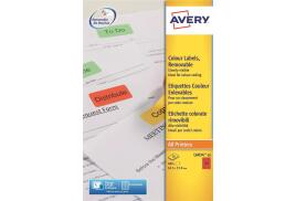 Avery L6034-20 Red Coloured Labels red (Pack 480)