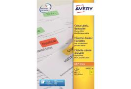 Avery L6035-20 Coloured Removable Labels (Yellow) - Pack of 480 Labels)